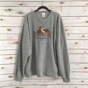 Disney Gray Tigger Fleece Pullover Sweater Size XL